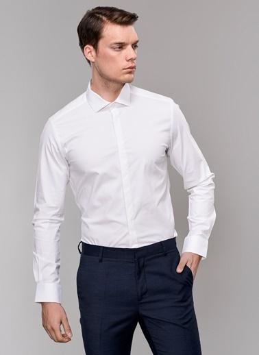 People By Fabrika Likralı Gömlek Beyaz